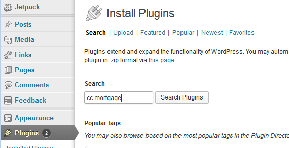 Search for cc mortgage plugin