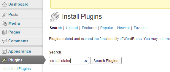 Search for new WordPress plugin