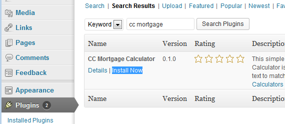 Install mortgage plugin