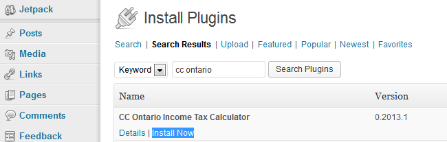 Installing Ontario tax calculator WP plugin