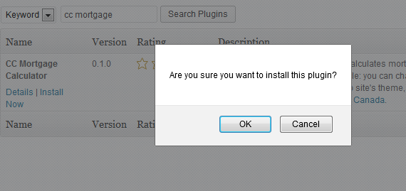 Confirm plugin instalation