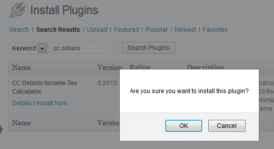 Ontario tax calculator WP plugin installation confirmation