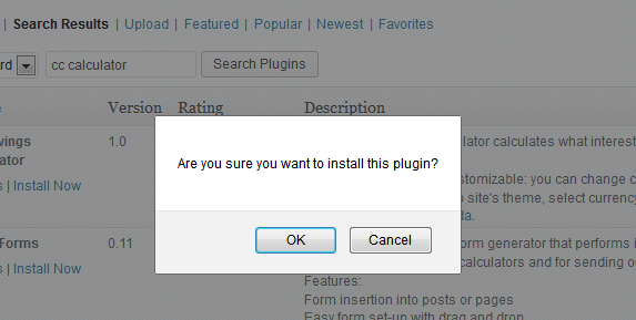 WordPress plugin installation confirmation
