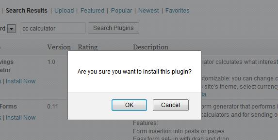 WordPress plugin installation confirmation