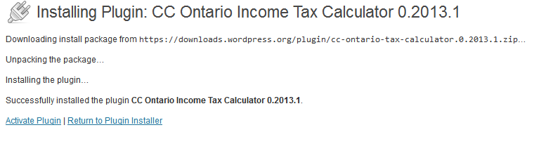 Activating Ontario tax calculator WP plugin