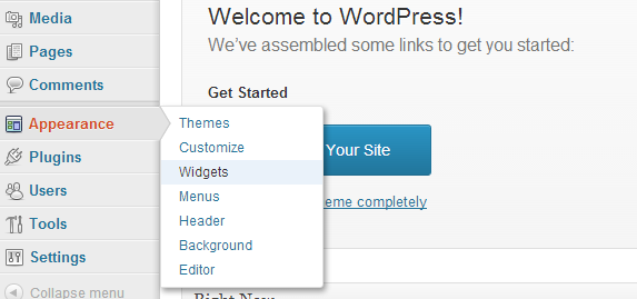 WordPress widgets menu