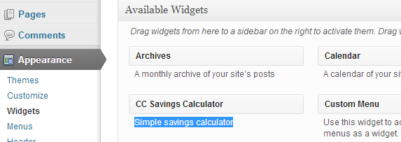 Find CC Saving Calculator plugin