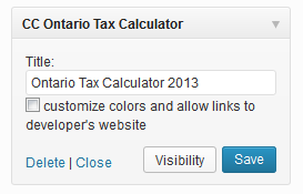 Ontario tax calculator widget setup