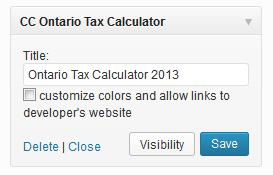 Ontario tax calculator widget setup