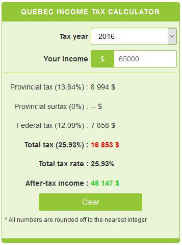 Hst Tax Calculator >> Quebec Income Tax Calculator Calculatorscanada Ca